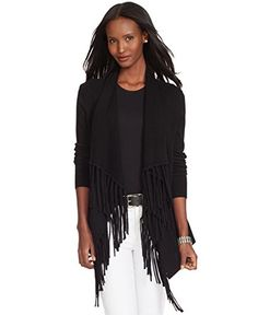 Ralph Lauren Fringed-Front Cardigan - Shop for women's Cardigan Cardigan Sweaters For Women, Cotton Sweater, Cardigans For Women, Sweater Cardigan, Ralph Lauren, Maternity Sweater, Black Cardigan, Clothes For Women