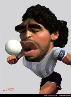 Caricatura de Maradona. Milano Giorno e Notte - We <3 You! http://www.milanogiornoenotte.com