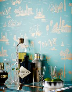 Cities Toile (Ebony) – Hygge & West :: My favorite Rifle Paper Co. Wallpaper in black!! LOVE the picture.