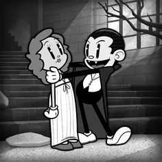 Dracula Art Print by jublin - X-Small 1930s Cartoons, Old School Cartoons, Classic Cartoons, Horror Cartoon, Horror Art, Horror Movies, Vintage Horror, Vintage Cartoon, Art Et Illustration
