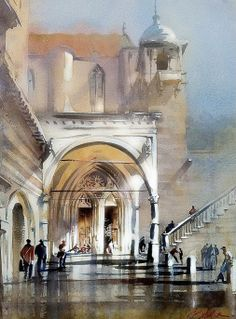 "https://www.facebook.com/MiaFeigelson ""Portico Assisi"" (2011) By Thomas W. Schaller, from NYC (current location, California) - watercolor; 22 x 16 in - - Architect and Watercolorist - http://thomasschaller.com/ https://www.facebook.com/thomaswschaller"