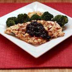 Almond Chicken with Cherry Balsamic Sauce http://cupcakesandkalechips.com/2012/06/21/almond-crusted-chicken-with-cherry-balsamic-sauce-improv-cooking-challenge/