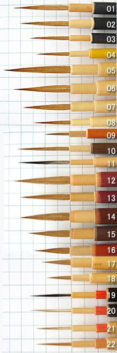 Fine point brushes | Nakatsu brush workshop brush Catalog Page