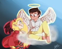 """disney-n-stuff: """" Starco week 2 -Day 1- Angels and Demons AU Sorry it's really sloppy I kinda did it in a rush Really hoping to participate everyday this week! """""""