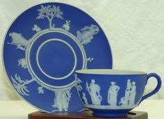 Antique Wedgwood Jasperware Blue Dip Tea Cup & Saucer Set A Jasper England #Wedgwood