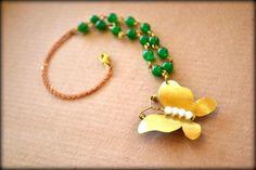Butterfly Necklace, Bronze Butterfly, Brass Butterfly, Butterfly Pendant, Gemstone Necklace, Green Jade Necklace