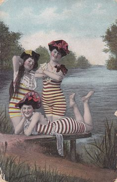 Bathing Beauties in Striped Bathing Suits  - @~ Mlle