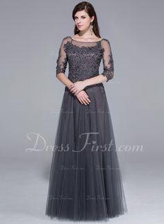 Princesový Kruhový výstřih Délka na zem Tulle Večerní šaty S Lace Zdobení korálky (017025440)