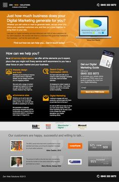 zen web solutions landing page example