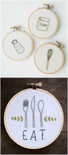 Embroidered Wall Art.  These would look great in my kitchen :)