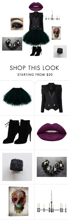 """""""6 october #2"""" by mariellascode on Polyvore featuring Balmain, Tom Ford, Huda Beauty, iCanvas and Currey & Company"""