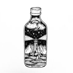 I love the night time sky- but I did really want a lightening storm. not too sure if the two fit together. Space Drawings, Art Drawings Sketches, Cute Drawings, Tattoo Drawings, Tattoo Sketches, Imagination Drawing, Dotted Drawings, Bottle Drawing, Stippling Art