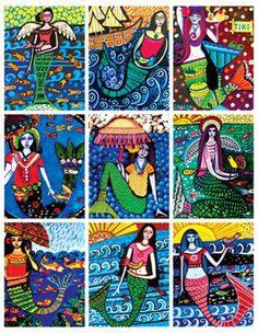 Mermaid ACEO cards by Heather Galler