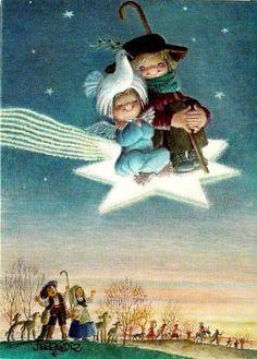 MI MALETA DE RECORTES: Antiguas postales de Ferrándiz Antique Christmas, Christmas Books, Vintage Christmas Cards, Christmas Holidays, Vintage Greeting Cards, Vintage Postcards, Christmas Illustration, Illustration Art, Rabbit Wallpaper