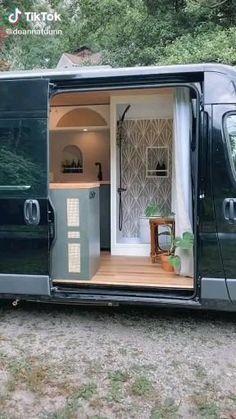Van Conversion Interior, Camper Van Conversion Diy, Van Interior, Van Conversion Cabinets, Van Conversion Videos, Van Conversion With Bathroom, T4 Camper Interior Ideas, Enclosed Trailer Camper Conversion, Volkswagen Bus Interior