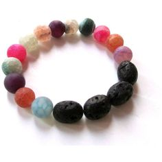 Gemstone bracelet-Frosted agate bracelet-Volcanic lava-Agate... ($16) ❤ liked on Polyvore featuring jewelry and bracelets