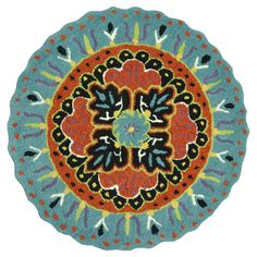 Wool rug with a multicolor medallion design. Hand-tufted in India.   Product: RugConstruction Material: 100% Wool