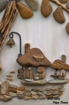 Композиции из гальки Stone Crafts, Rock Crafts, Arts And Crafts, Pebble Pictures, Stone Pictures, Pebble Stone, Stone Art, Pebble Art Family, Rock And Pebbles