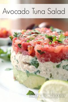 Tuna is such an easy thing to make for lunch. I just mixed it with a little mayo and some cilantro, squeezed a lime over it and then served it over avocado mash and topped it with fresh salsa. It is the perfect easy recipe for a quick lunch or a low carb meal.