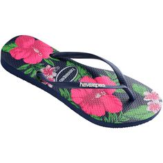 Havaianas Flip-flops - Havaianas Slim Floral Navy Blue ($32) ❤ liked on Polyvore featuring shoes, sandals, flip flops, blue, rubber flip flops, rubber shoes, navy flip flops, navy sandals and floral flip flops