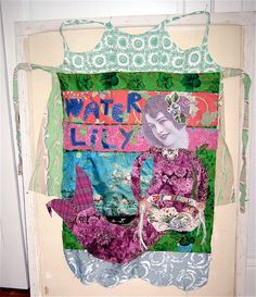 My Bonny - Lily the Mermaid APRON Altered Fabric Collage Art Monet Water Lilies  mybonny