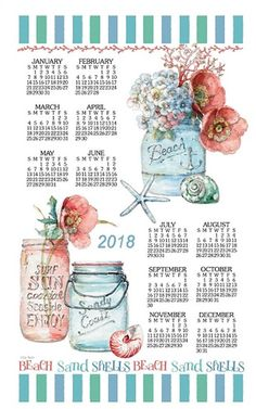 2019 Calendar Towel & Dowel - Glass Jars with Flowers, Beach House Floral