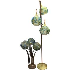 Pair of Mid Century Spun Lucite Spaghetti Shade Lamps, Floor / Table Table Lamp Base, Lamp Bases, Retro Lighting, Office Lighting, Three Way Switch, Retro Lamp, Vintage Lamps, Leaf Shapes, Wood And Metal