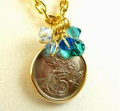 New Zealand 5 Cent Silver Coin Tuatara Reptile Gold Chain Necklace | dianesdangles - Jewelry on ArtFire