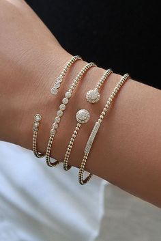 Stackable Gold Bracelets | I. Gorman Jewelers Simple diamond bracelet Stackable diamond bracelet Diamond bracelet stack
