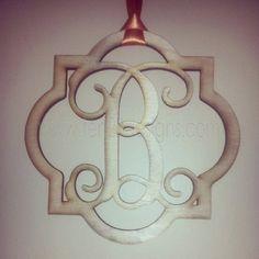 Personalized Quatrefoil Interlocking Square Wooden Monogram
