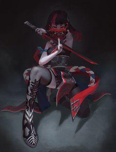 Kawaii Anime Girl, Cool Anime Girl, Anime Girls, Oni Samurai, Female Samurai, Ninja Wallpaper, Samurai Wallpaper, Hd Wallpaper, Wallpapers