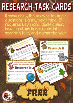 FREE Fall Themed Research Task Cards from The Library Patch. Perfect for autumn centers and those fast finishers.