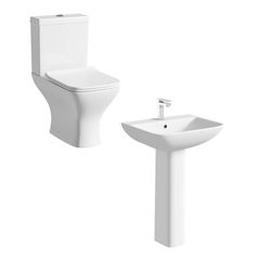 Compact Square close coupled toilet and full pedestal basin suite 550mm