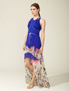 Silk Printed Drawstring High Low Gown by Vera Wang at Gilt