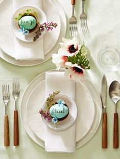 Egg place cards make a charming addition to your Easter table. Write or paint guests' names on eggs, or type names and print as a mirror image (in reverse) on rub-on paper and apply to eggs. More Easter decorating ideas: http://www.midwestliving.com/holidays/easter/easy-easter-decorations/?page=1