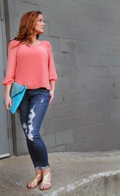 { KashCollection.Com} Our New Distressed Jeans and Rose Dust Top