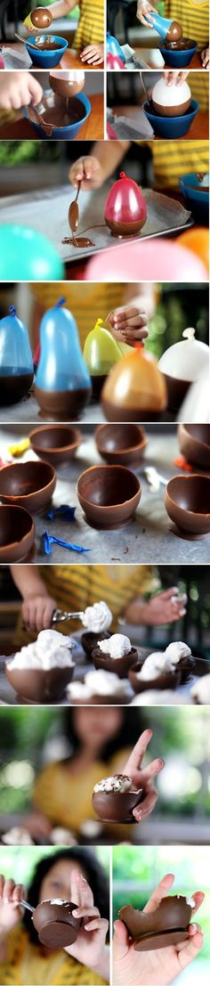 """Easy edible chocolate ice cream bowls using BALLOONS! You can use small balloons to make chocolate edible chocolate shot """"glass"""" to drink rumplemitz and chase with the chocolate - it's awesome! Yummy Treats, Delicious Desserts, Sweet Treats, Dessert Recipes, Yummy Food, Dessert Cups, Fancy Desserts, Cute Easter Desserts, Easter Snacks"""