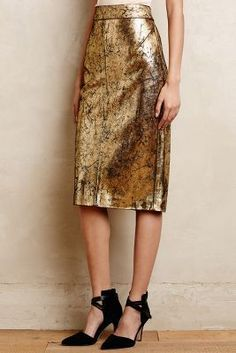 Raoul Gilded Leather Pencil Skirt - anthropologie.com #anthrofave