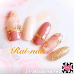 ネイル 画像 Rai-nail  1291859 ゴールド ブラウン ベージュ タイダイ ラメ マーブル オフィス 春 夏 秋 冬 ロング ミディアム ショート