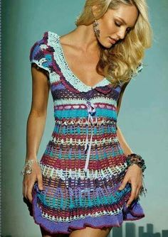 Beautiful crocheted dress in nice colours