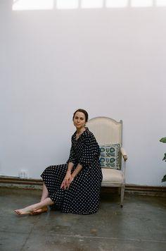 Datura Blog - Member Style #2 Isabella Killoran wearing our Polka Silk Long Shirt Dress