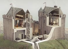 Illustrated reconstruction of Ardrossan Castle, Ayrshire, Scotland Medieval Houses, Medieval World, Medieval Castle, Fantasy Castle, Scottish Castles, Historical Architecture, Ancient Architecture, Fortification, House Styles