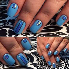 Accurate nails, Blue gel polish, Extraordinary nails, Ideas of blue nails, Iridescent nails, Nails with stickers, Original nails, Square nails