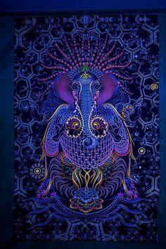 Ganesha d'Art psychédélique UV tissu tapisserie par MypsyArt