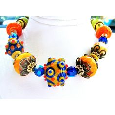 SALE, Cool Fiesta Lampwork Bracelet, Orange Blue Green, Olive Jade... (€37) via Polyvore featuring jewelry, bracelets, belladonnasjoy, antiqued brass, bumpy beads, lampwork and ready to ship