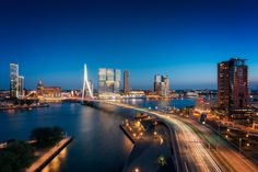 Man Made Rotterdam  Netherlands Night City Highway Building Skyscraper Bridge Wallpaper