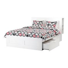 IKEA - BRIMNES, Bed frame with storage & headboard, Queen, -, , The 4 large drawers give you an extra storage space under the bed.Adjustable bed sides allow you to use mattresses of different thicknesses.The top shelf has holes for cords to lamps or chargers.