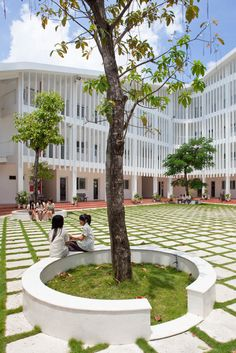 Binh Duong School, which is capable of holding 800 students in 12 grade levels, is surrounded and covered by the height of the forest. Precast concrete louver systems and patterned walls encircling the building are used for the purpose of shading devices which generate half-outside space. These designs not only help avoiding direct sunlight but also act as a natural ventilation system for the corridor space.    The school is designed as a constant S-shape with gentle slope, connected to the…