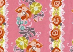 Rose Lace and Flower Stripe Print Fabric Pink