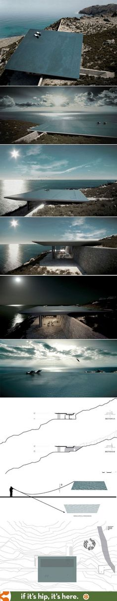 Mirage house by Kois Associated Architects to feature rooftop infinity pool. Rimless pool serves as roof for hillside home in Greece. Architecture Design, Amazing Architecture, Contemporary Architecture, Landscape Architecture, Landscape Design, Green Architecture, Futuristic Architecture, Sustainable Architecture, Cool Pools